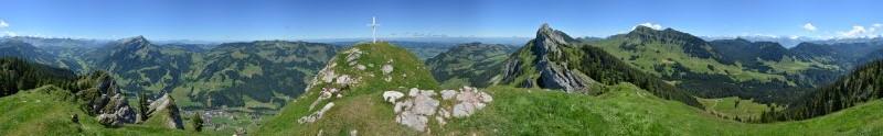 Panorama Schwändiliflueh mit Orientierungspunkten 1796m, Juli 2013